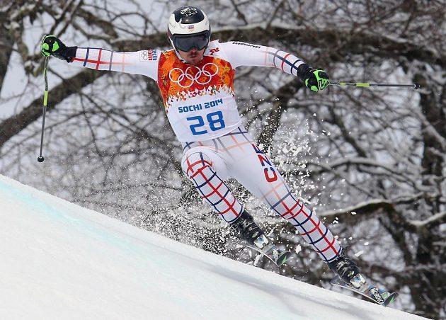 Český lyžař Ondřej Bank na trati prvního kola obřího slalomu v Soči.