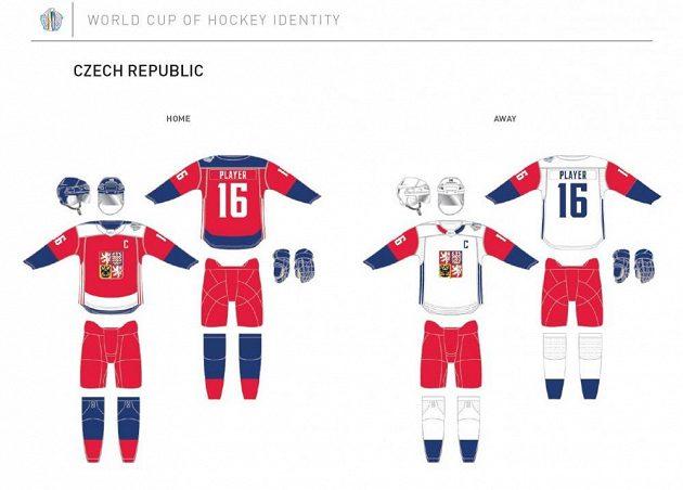Takto budou vypadat dresy české hokejové reprezentace na Světovém poháru.