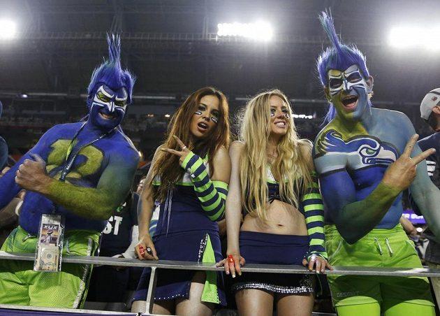 Fanoušci Seattle Seahawks během Super Bowlu.
