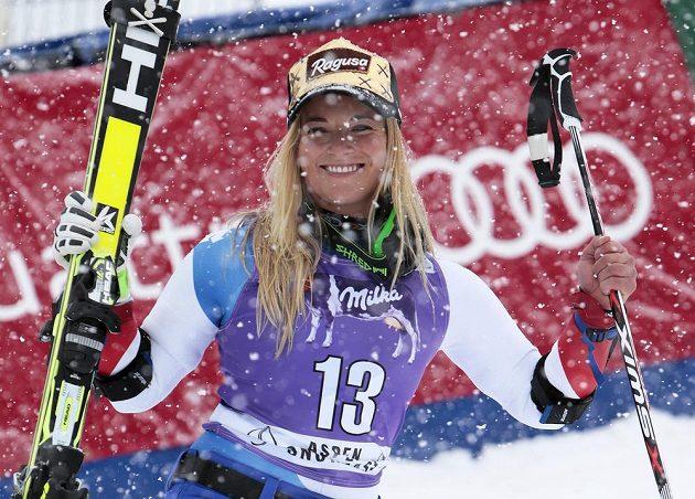 Švýcarka Lara Gutová po vítězství v Aspenu.