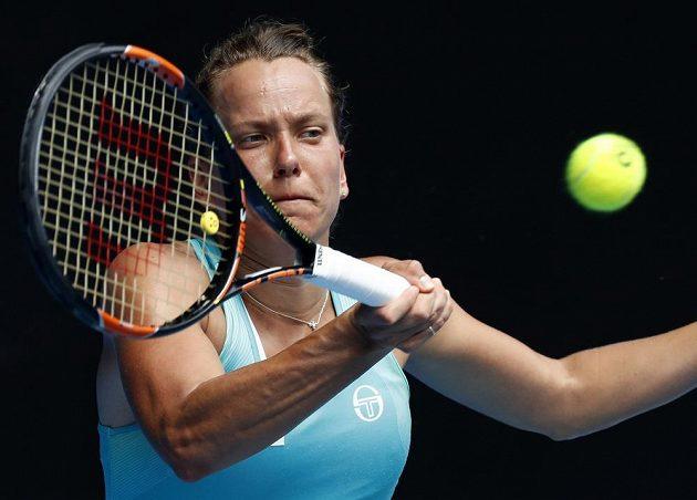 Forhend Barbory Strýcové během osmifinále Australian Open.