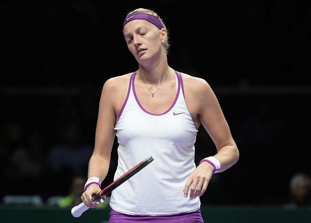 Reakce Petry Kvitové po prohrané výměně s Garbiňe Muguruzaovou na Turnaji mistryň.