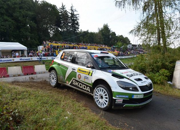 Jan Kopecký se Škodou Fabia S2000 na trati Barum rallye 2012.