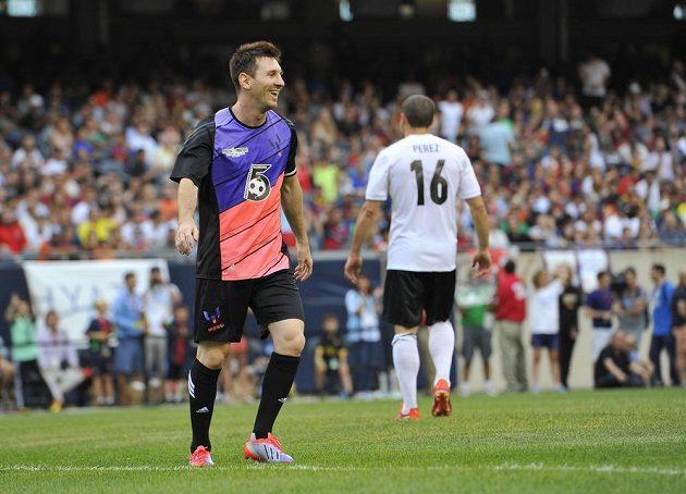 Argentinská fotbalová hvězda Lionel Messi při exhibici v Chicagu.