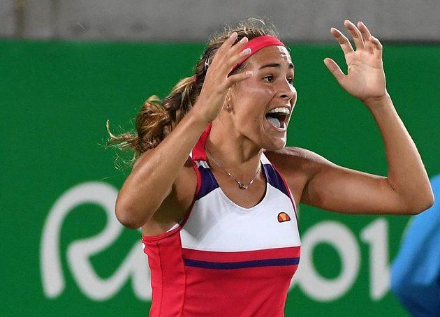 Obrovská radost se zmocnila Móniky Puigové po proměněném mečbolu ve finále olympijského turnaje ve dvouhře.