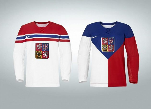 Dvě sady dresů, které bude česká hokejová reprezentace oblékat na olympijských hrách v Soči.