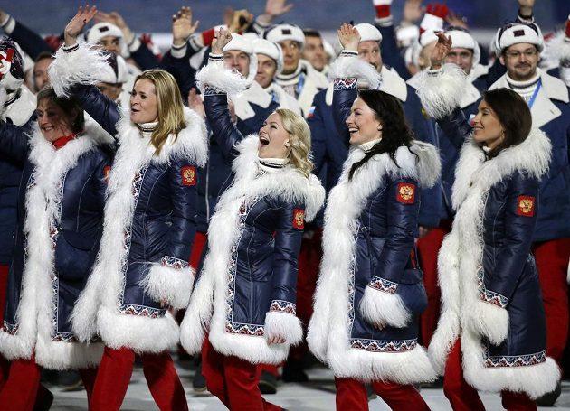 Pohled na ruskou kolekci obleční při zahájení ZOH v Soči.