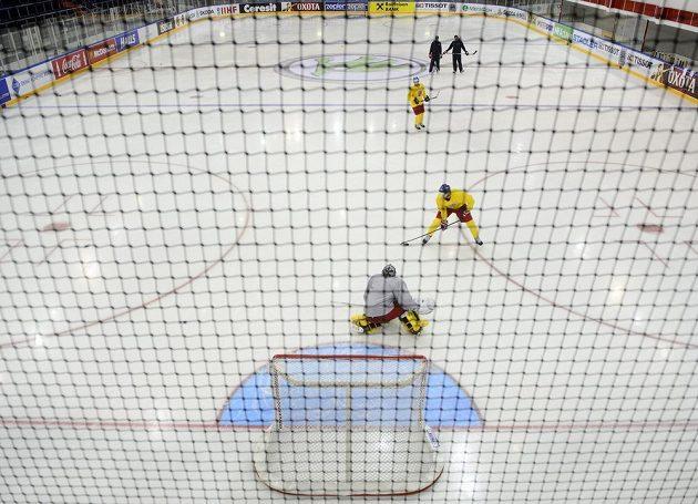 Pouze náhradníci nastoupili ke čtvrtečnímu tréninku české reprezentace v hale Čižovka v Minsku.