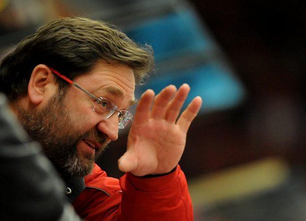 Olomoucký trenér Petr Fiala během utkání v Českých Budějovicích.