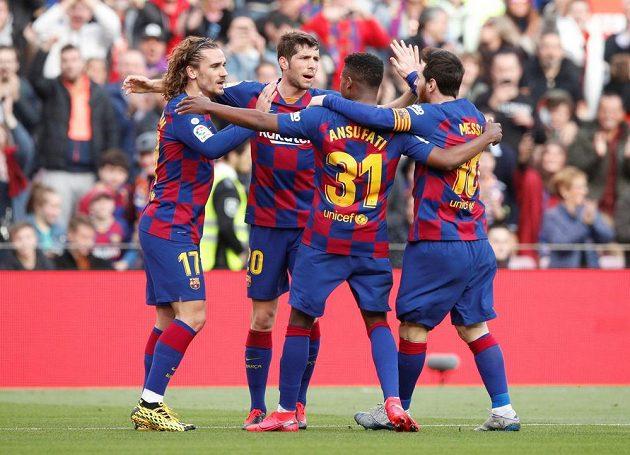 Radost v podání barcelonských fotbalistů.