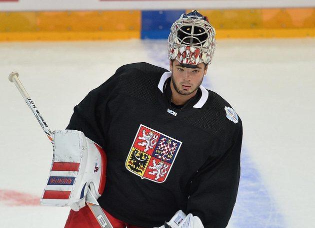 Brankář Michal Neuvirth na tréninku české reprezentace před SP.