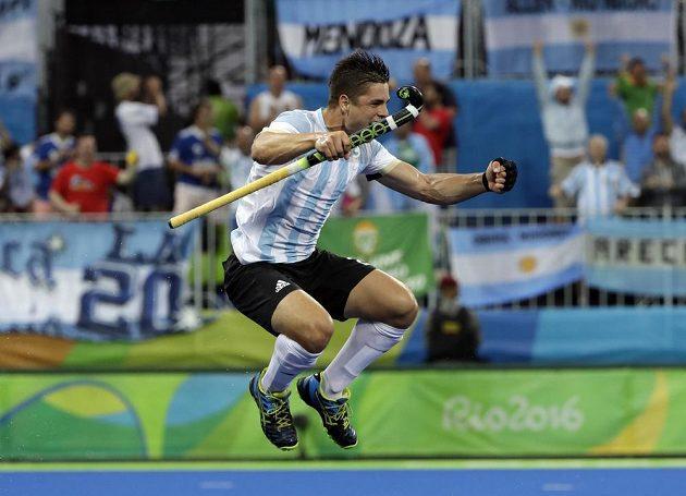Gonzalo Peillat z Argentiny slaví finálový gól proti Belgii.