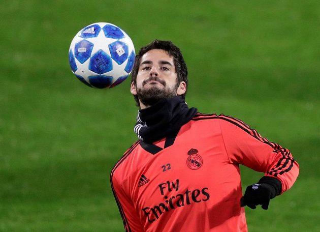 Isco z Realu Madrid na tréninku v Doosan Aréně.