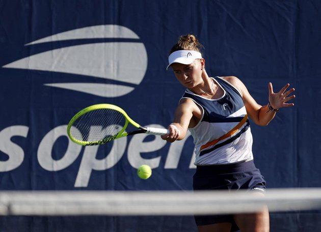 Česká tenistka Barbora Krejčíková při své premiéře ve dvouhře na US Open.