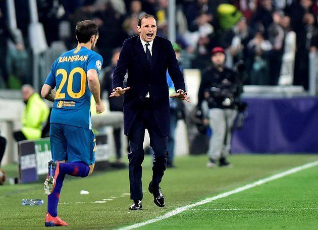 Kouč Juventusu Massimiliano Allegri během odvety s Atlétikem madrid v Lize mistrů