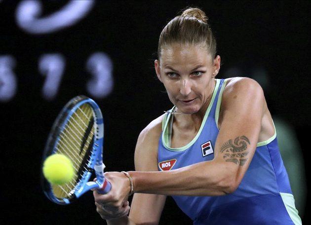Nasazená dvojka Australian Open, česká tenistka Karolína Plíšková, v akci.