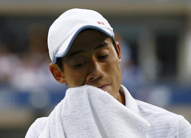 Japonský tenista Kei Nišikori ve finále US Open proti Marinu Čiličovi z Chorvatska.