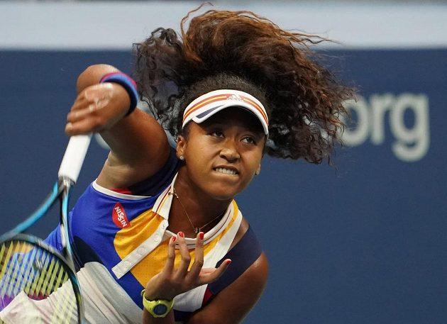 Japonka Naomi Osakaová při zápase 1. kola US Open s Angelique Kerberovou.
