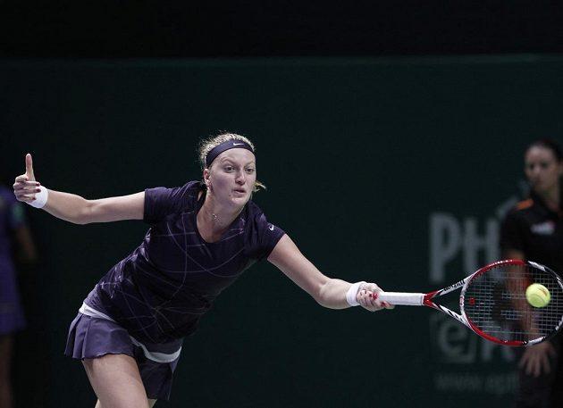 Kvitová na Turnaji mistrů během duelu s Němkou Kerberovou.