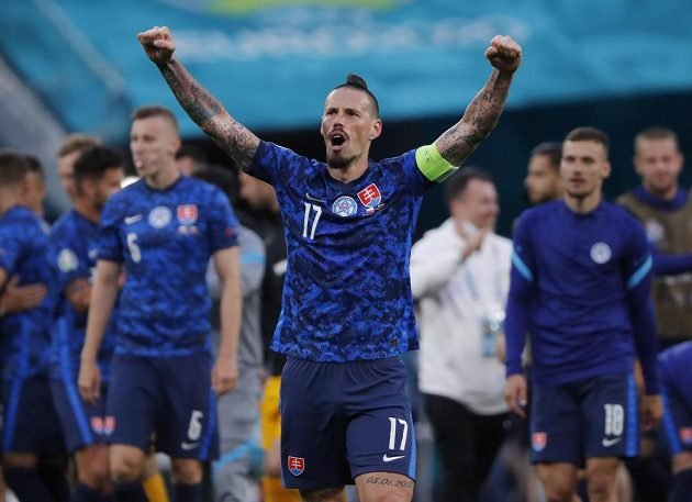 The leader of the Slovak national football team, Marek Hamšík, celebrates the EURO victory over Poland.