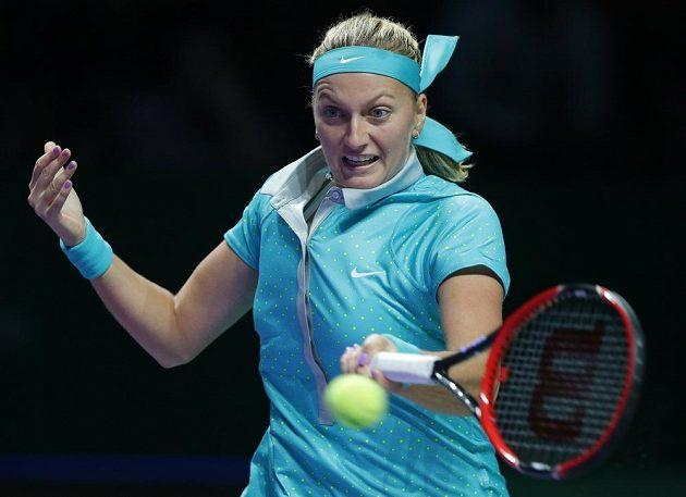 Česká tenistka Petra Kvitová v utkání s Polkou Radwaňskou.