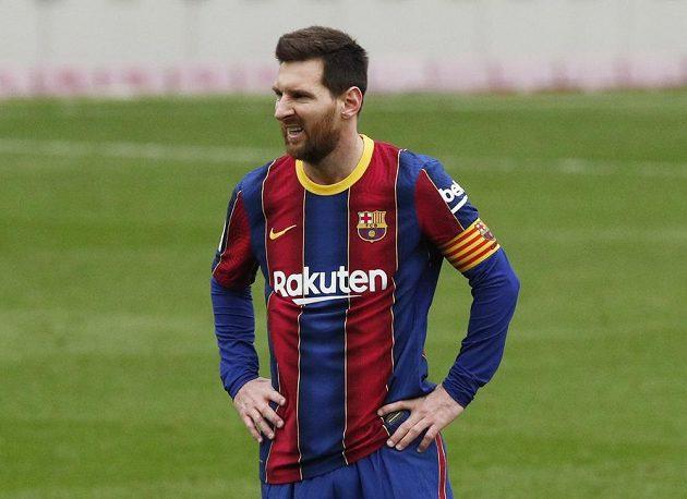 Barcelonský Lionel Messi při utkání s Cádizem.