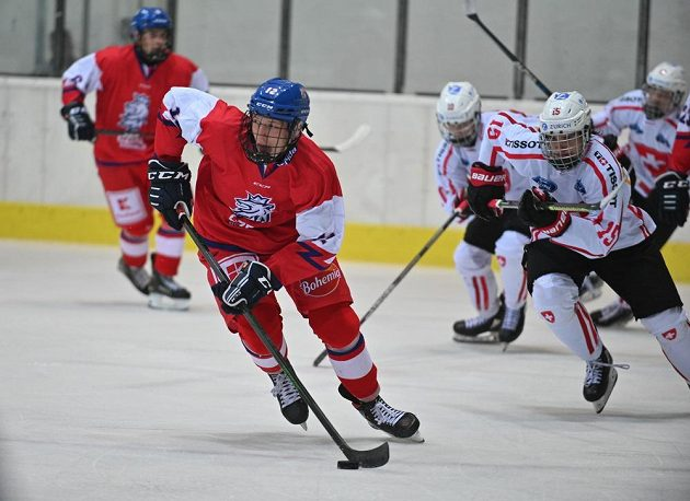 V popředí Eduard Šalé z ČR během utkání se Švýcarskem ve skupině A Hlinka Gretzky Cupu hokejistů do 18 let.