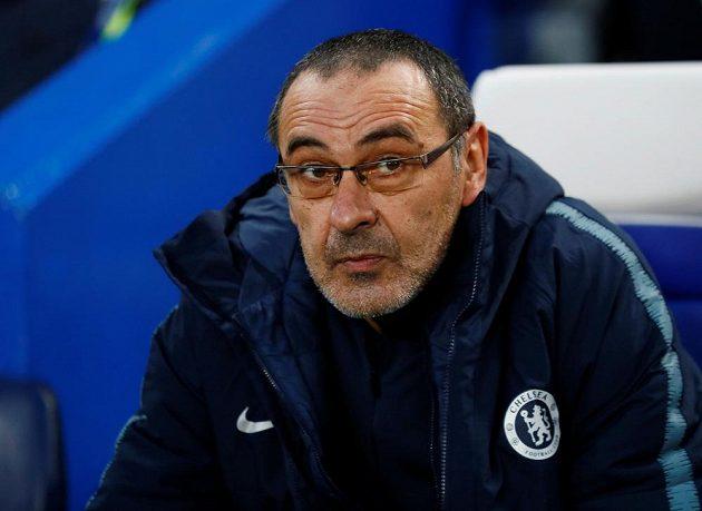 Manažer fotbalové Chelsea Maurizio Sarri před začátkem zápasu Evropské ligy se Slavií.
