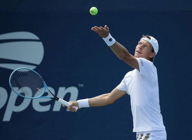 Český tenista Tomáš Berdych v akci na US Open.