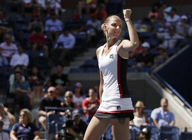 Obrovská radost Karolíny Plíškové. Češka ve čtvrtfinále US Open suverénně přehrála Anu Konjuhovou z Chorvatska.
