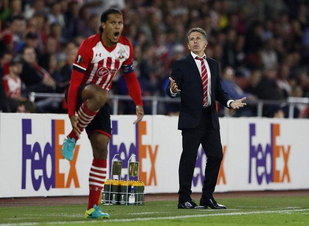 Manažer Southamptonu Claude Puel a obránce Virgil van Dijk.