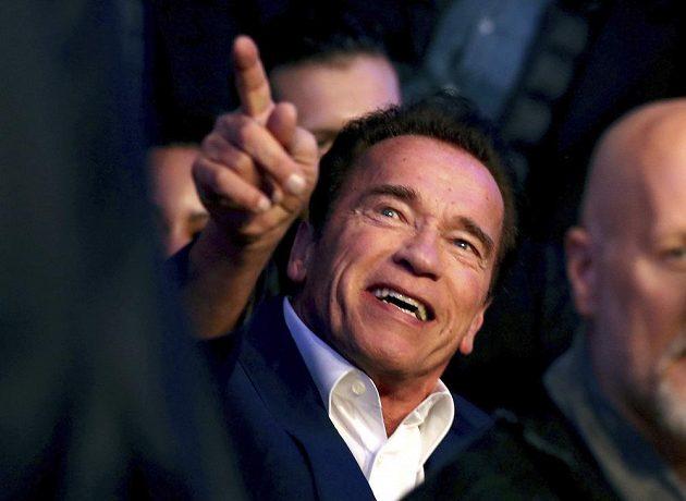 Herec Arnold Schwarzenegger přihlíží ve Wembley duelu Kličko - Joshua.