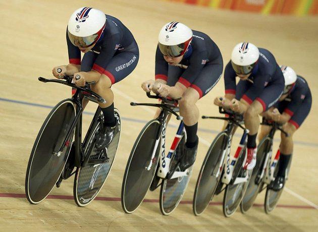 Britské dráhové cyklistky (zleva) Laura Trottová, Elinor Barkerová, Kate Archibaldová a Joanna Rowsellová.
