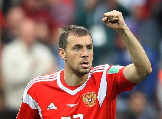 Triumfální gesto ruského fotbalisty Artema Dzjuby. Rusko vyhrálo nad Saúdskou Arábií 5:0.