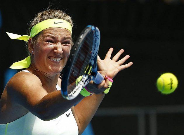 Běloruská tenistka Victoria Azarenková v duelu s Američankou Sloane Stephensovou v prvním kole Australian Open.