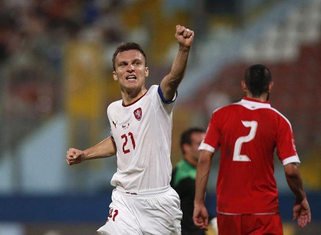 Radost útočníka Davida Lafaty, který vstřelil druhý gól českého týmu v utkání proti Maltě.