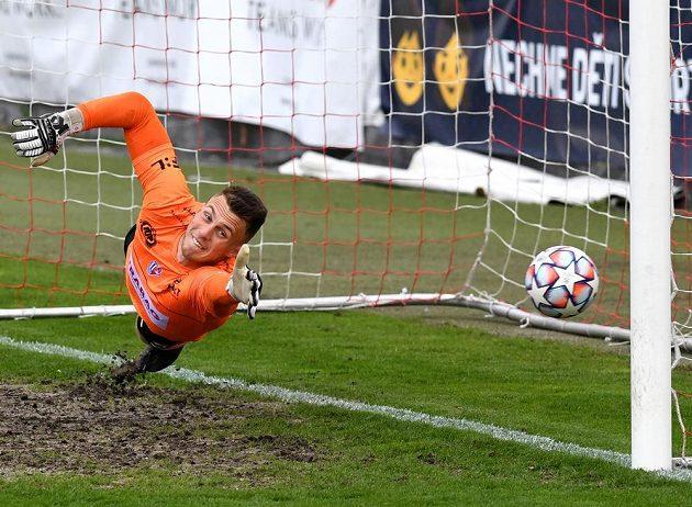 Brankář Pardubic Jiří Letáček inkasuje první gól v utkání 30. kola Fortuna ligy.