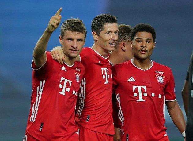 radost hráčů Bayernu Mnichov v semifinále Ligy mistrů.