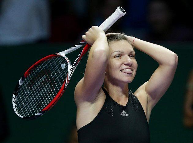 Simona Halepová po výhře nad světovou jedničkou Serenou Williamsovou na Turnaji mistryň.
