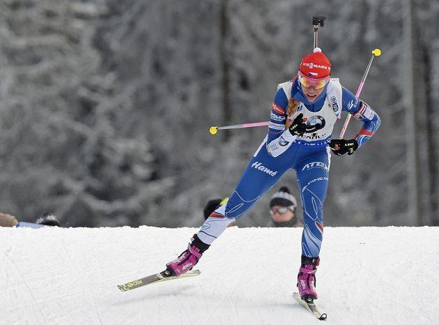 Česká biatlonistka Gabriela Koukalová během pátečního sprintu na 7,5 km v německém Oberhofu.
