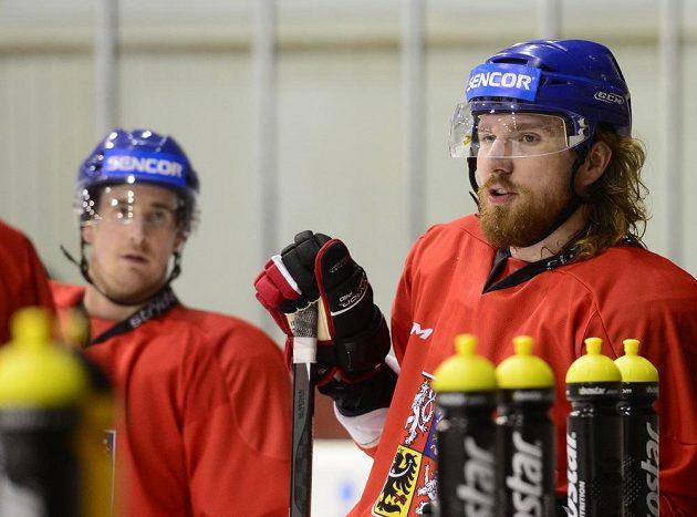 Útočníci Roman Červenka a Lukáš Kašpar (vpravo) během tréninku české hokejové reprezentace v Praze.