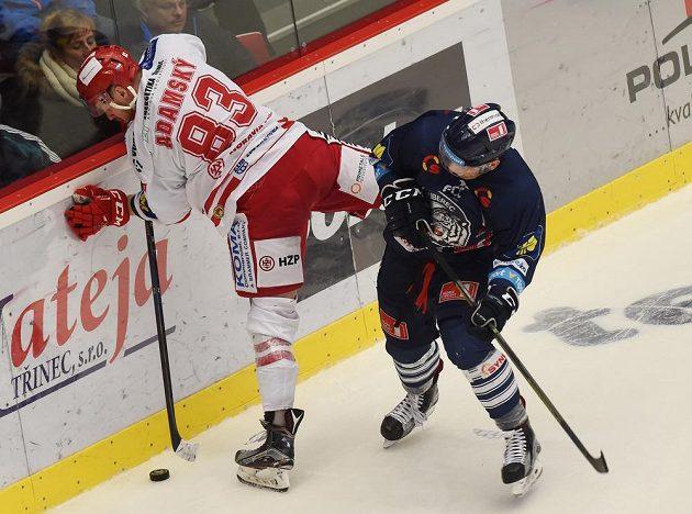 Třinecký útočník Martin Adamský (vlevo) v souboji s libereckým obráncem Radimem Šimkem v zápase 45. kola hokejové Tipsport extraligy.