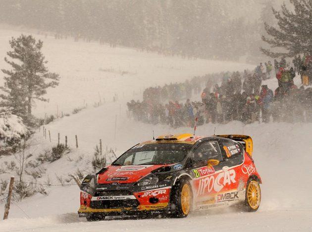 Martin Prokop, jediný český pilot v mistrovství světa, s Fordem Fiesta WRC na trati loňské Rallye Monte Carlo.