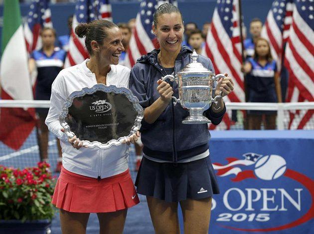 Roberta Vinciová (vlevo) a Flavia Pennettaová - dvě italské finalistky US Open.