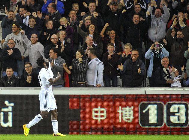 Útočník Swansea Bony Wilfried se raduje s fanoušky z gólu proti Leicesteru.