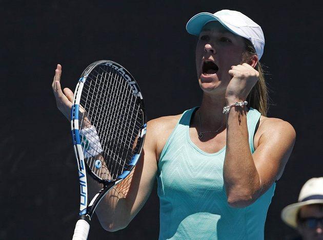 Radost Denisy Allertové poté, co postoupila do 3. kola Australian Open.