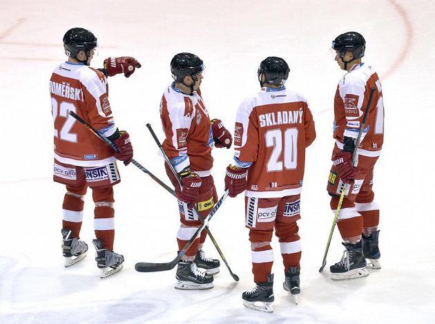 Hráči Olomouce (zleva) Jan Jaroměřský, Jan Káňa, František Skladaný a Bruno Mráz.