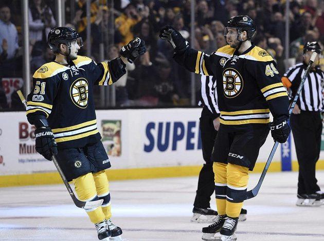 Český útočník Bostonu David Krejčí (46) přijímá gratulace od spoluhráče Ryana Spoonera (51).