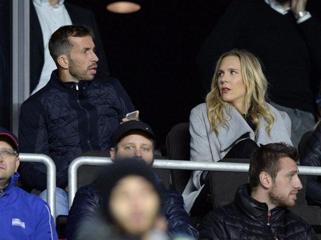 Tenista Radek Štěpánek s bývalou manželkou Nicole Vaidišovou v hledišti na Letné.