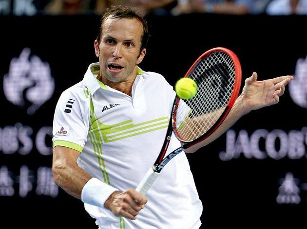 Český tenista Radek Štěpánek v zápase druhého kola Australian Open se Švýcarem Stanem Wawrinkou.